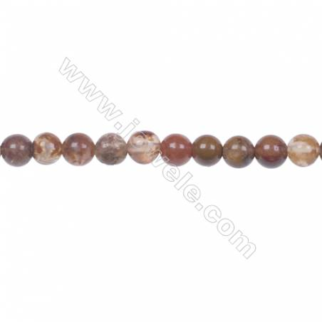 Agua Nueva Agate 4mm round strand beads earthy golds  browns and reds hole 0.8mm 98 beads/strand  15~16''