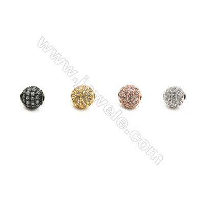 8mm  Brass Round Beads, (Gold, Rhodium, Black, Rose Gold) Plated, CZ Micropave, Hole 1.5mm, 20pcs/pack
