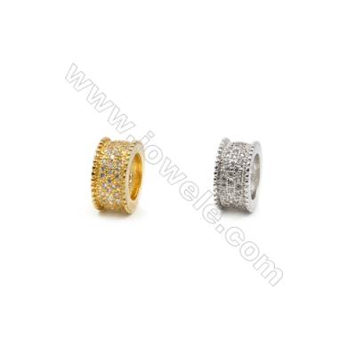 11mm  Brass Large Hole Beads, (Gold, Rhodium) Plated, CZ Micropave, Width 6mm, Hole 7mm, 20pcs/pack