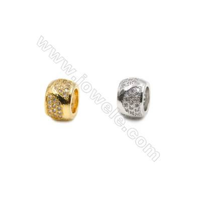 10mm  Brass Large Hole Beads, (Gold, Rhodium) Plated, CZ Micropave, Thick 6mm, Hole 5.8mm, 20pcs/pack