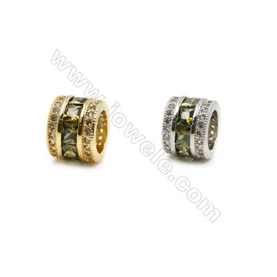10mm  Brass Large Hole Beads, (Gold, Rhodium) Plated, CZ Micropave, Thick 6mm, Hole 5.8mm, 10pcs/pack