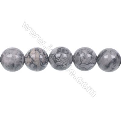 Fashion Jewelry Silver Crazy Lace Agate Strand Beads, Round, Size 12mm, Hole 1.2mm, 33 beads/strand, 15~16""