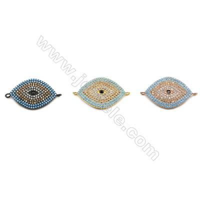 16x24mm  Brass Connector, Evil Eye, (Gold, Gun black, Rose Gold) Plated, CZ Micropave, Hole 1.5mm