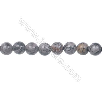 Fashion Jewelry Silver Crazy Lace Agate Strand Beads, Round, Size 6mm, Hole 1mm, 66 beads/strand 15~16""