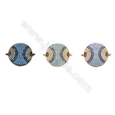 20mm  Brass Rondelle Connector, (Gold, Gun black, Rose Gold) Plated, CZ Micropave, Hole 1mm
