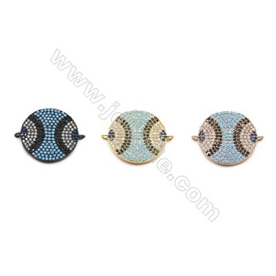 19mm  Brass Rondelle Connector, (Gold, Gun black, Rose Gold) Plated, CZ Micropave, Hole 1mm