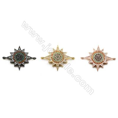 24x24mm  Brass Star Connector, (Gold, Gun black, Rose Gold) Plated, CZ Micropave, Hole 1mm