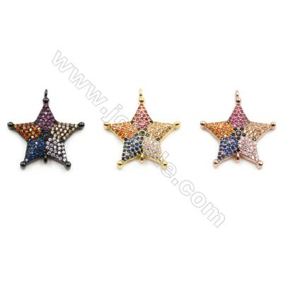 21x21mm  Brass Star Connector, (Gold, Gun black, Rose Gold) Plated, CZ Micropave, Hole 1mm