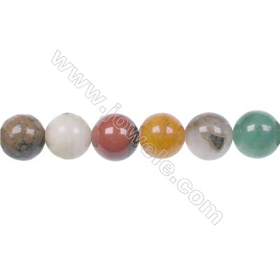 Fashion designer jewelry making DIY 10mm mixed gem stone beads for Bracelet  hole 1mm  40 beads/strand 15~16''