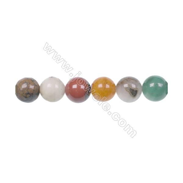 Fashion designer jewelry making DIY 10mm mixed gem stone beads for Bracelet  hole 1mm  40 beads/strand 15~16''