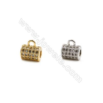 6x8mm  Brass Large Hole Beads  (Gold Rhodium) Plated  CZ Micropave   20pcs/pack