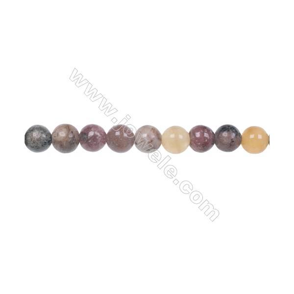 Fashion designer jewelry making DIY 6mm mixed gem stone beads for Bracelet  hole 1mm  70 beads/strand 15~16''