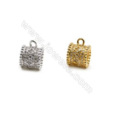 9x9mm  Brass Large Hole Beads  (Gold Rhodium) Plated  CZ Micropave  1.5mm  15pcs/pack