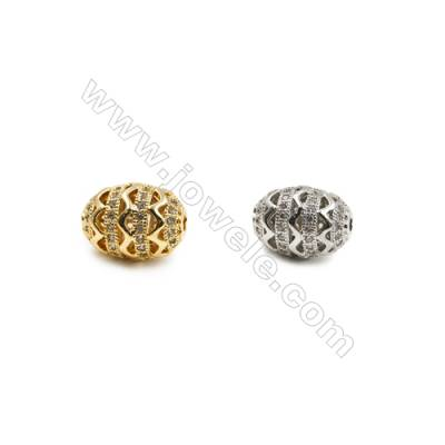 10x13mm  Brass Oval Beads, (Gold, Rhodium) Plated, CZ Micropave, Hole 1.5mm, 10pcs/pack