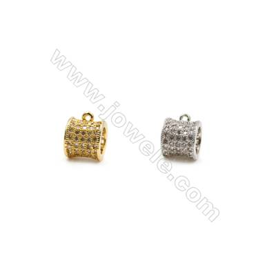 8x9mm  Brass Large Hole Beads  (Gold Rhodium) Plated  CZ Micropave  15pcs/pack