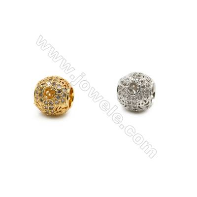 10mm  Brass Large Hole Beads, (Gold, Rhodium) Plated, CZ Micropave, Hole 4.5mm, 20pcs/pack