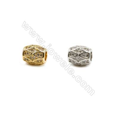 8x9mm  Brass Oval Beads, (Gold, Rhodium) Plated, CZ Micropave, Hole 3.5mm, 20pcs/pack