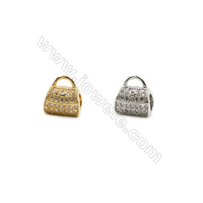 6x9mm  Brass Pendant  (Gold Rhodium) Plated  CZ Micropave  Hole 2mm  20pcs/pack