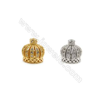 9x9mm  Crown Brass Beads  (Gold Rhodium) Plated  CZ Micropave  Hole 0.7mm  25pcs/pack