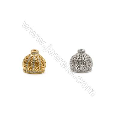 10x11mm  Brass Crown Beads  (Gold Rhodium) Plated  CZ Micropave  Hole 1mm  15pcs/pack