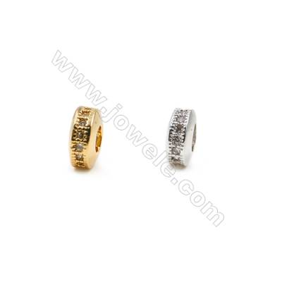 4x7mm  Brass Large Hole Spacer Beads  (Gold Rhodium) Plated  CZ Micropave  Hole 3mm  40pcs/pack