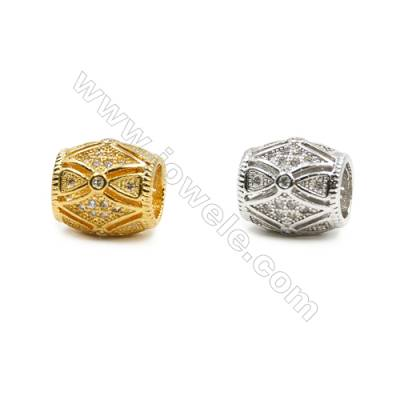 10x10mm  Brass Barrel Beads, (Gold, Rhodium) Plated, CZ Micropave, Hole 5mm, 20pcs/pack