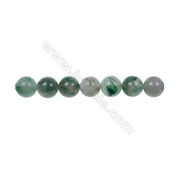 Wholesale jewelry making 10mm green chalcedony stone agate strand beads hole 1mm  36 beads/strand  15~16''
