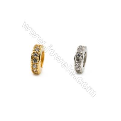 3x10mm  Brass Spacer Beads  (Gold Rhodium) Plated  CZ Micropave  Hole 1.5mm  40pcs/pack
