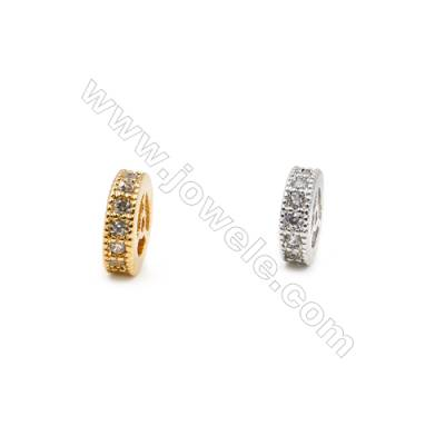 3x8mm  Brass Spacer Beads  (Gold Rhodium) Plated  CZ Micropave  Hole 0.8mm  40pcs/pack