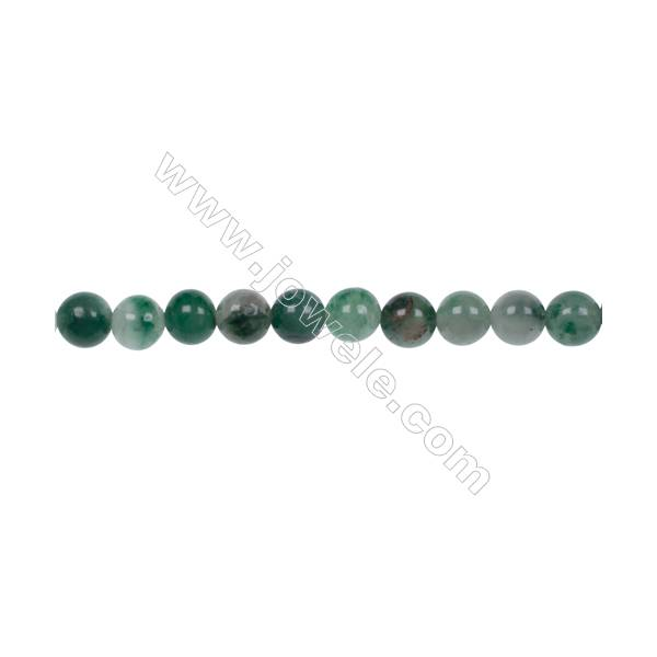 Wholesale jewelry making 6mm green chalcedony stone agate strand beads hole 1mm  66 beads/strand  15~16''