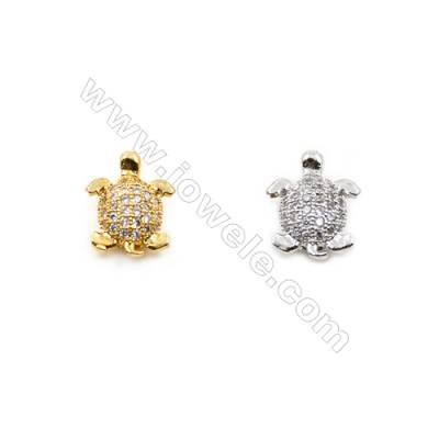 9x11mm Gold and Rhodium Plated Brass Beads  Turtle   CZ Micropave  Hole 1mm  25pcs/pack
