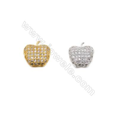 11x11mm  Gold and Rhodium Plated Brass Beads  Apple   CZ Micropave  Hole 1mm  20pcs/pack