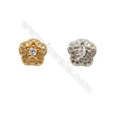 9x9mm  Gold and Rhodium Plated Brass Beads   CZ Micropave  Hole 2mm  30pcs/pack