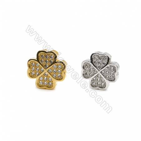 12x12mm  Gold and Rhodium Plated Brass Beads  Flower   CZ Micropave  Hole 1mm  25pcs/pack