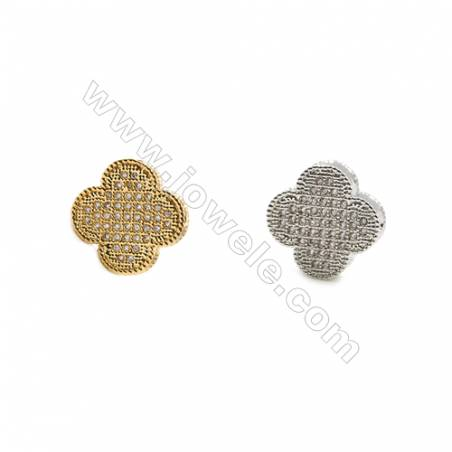 13x13mm  Gold and Rhodium Plated Brass Beads  Cross   CZ Micropave  Hole 1mm  25pcs/pack