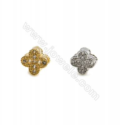 6x6mm  Gold and Rhodium Plated Brass Beads  Clover   CZ Micropave  Hole 5mm  20pcs/pack