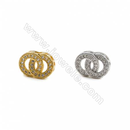 10x14mm  Gold and Rhodium Plated Brass Beads  Ring   CZ Micropave  Hole 1mm  25pcs/pack