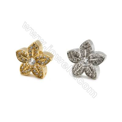 15x15mm  Gold and Rhodium Plate Brass Charms  Star  CZ Micropave  Thick 6mm  20pcs/pack