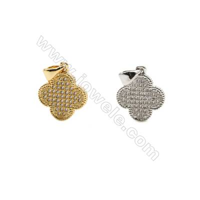 13x13mm  Gold and Rhodium Plate Brass Pendant  Clover  CZ Micropave  25pcs/pack