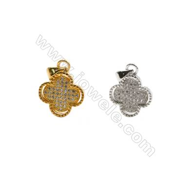 14x14mm  Gold and Rhodium Plated Brass Pendant  Clover  CZ Micropave  25pcs/pack