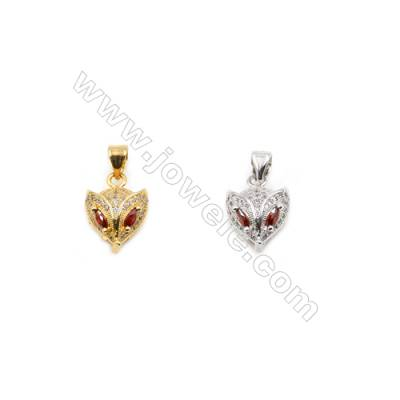 11x12mm  Gold and Rhodium Plated Brass Pendant  Fox   20pcs/pack