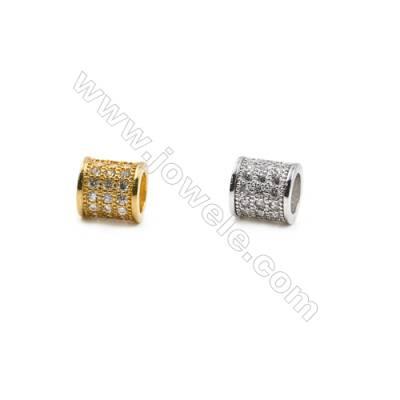 Cuentas de latón chapado en oro/platino Tamaño8x8mm Agujero 1.5mm Cuadrado  Circonio cúbico  30pcs/paquete
