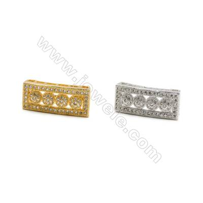 8x18mm  Gold (White gold) Plated Brass Connector, CZ Micropave, Thick 5mm, 20pcs/pack