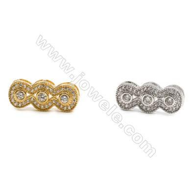 7x18mm  Gold and Rhodium Plated Brass Connector  Crown   CZ Micropave  Thick 3.5mm  20pcs/pack