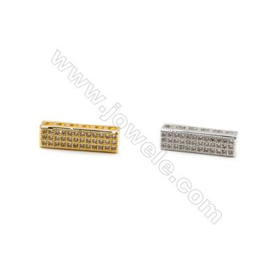 5x17mm  Gold ( White gold) Plated Brass Connector, Rectangle, CZ Micropave, Thick 3.5mm, 30pcs/pack