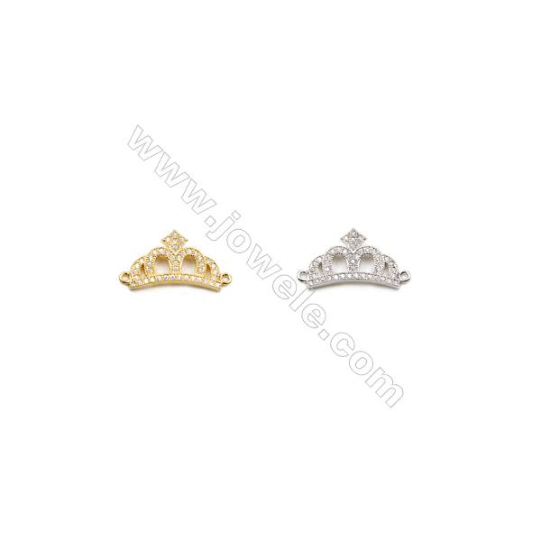 11x17mm  Gold ( White gold ) Plated Brass Connector, Crown, CZ Micropave, Thick 2.5mm, Hole 1mm, 20pcs/pack