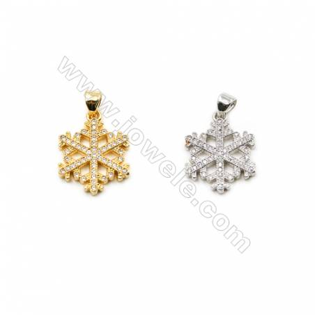 15x17mm  Gold and Rhodium Plated Brass Pendant  Snowflake   CZ Micropave  Thick 2mm  20pcs/pack