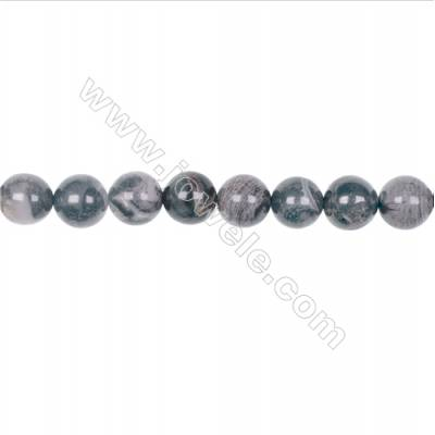 10mm black silver leaf jasper loose beads for jewelry making  hole 18mm  39 beads/strand  15~16''