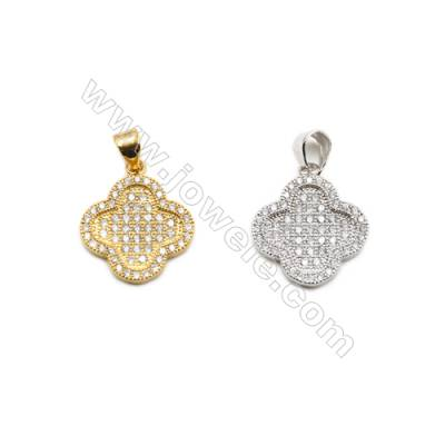 15x16mm  Gold and Rhodium Plated Brass Pendant  Clover   CZ Micropave  Thick 2mm  20pcs/pack