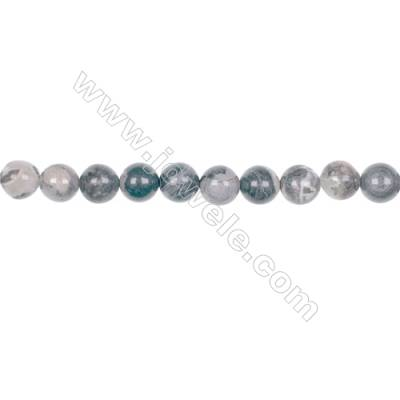 8mm black silver leaf jasper loose beads for jewelry making  hole 1mm  49 beads/strand  15~16''